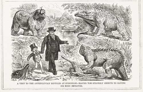 "John Leech, ""A Visit to the Antediluvian Reptiles"""
