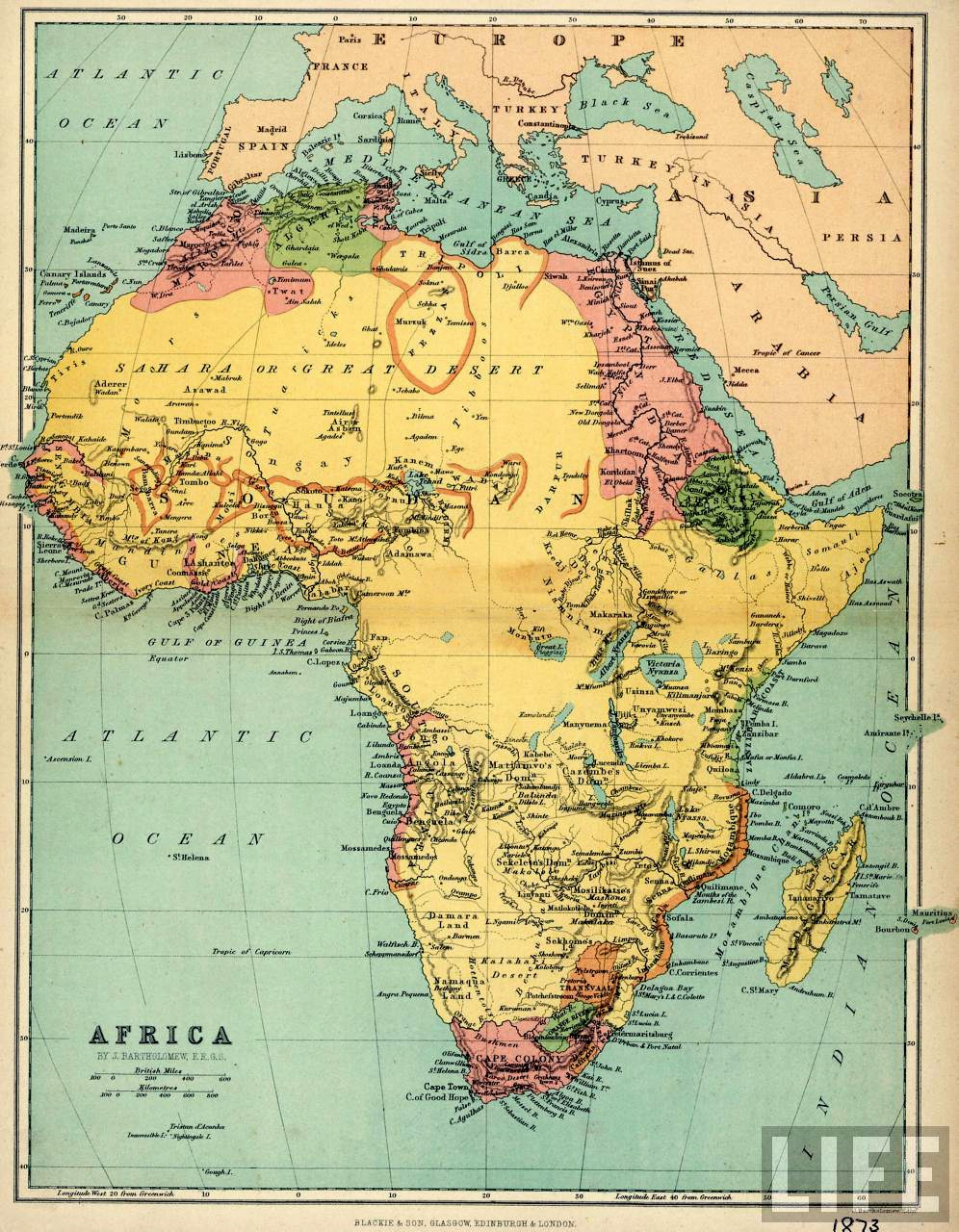 Map of Africa, 1874