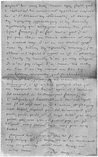 Mazzini letter