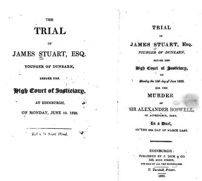 title pages of accounts of Stuart's trial