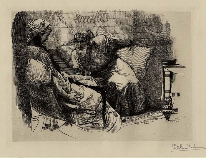 Alma Tadema etching, Zal and Rudabeh