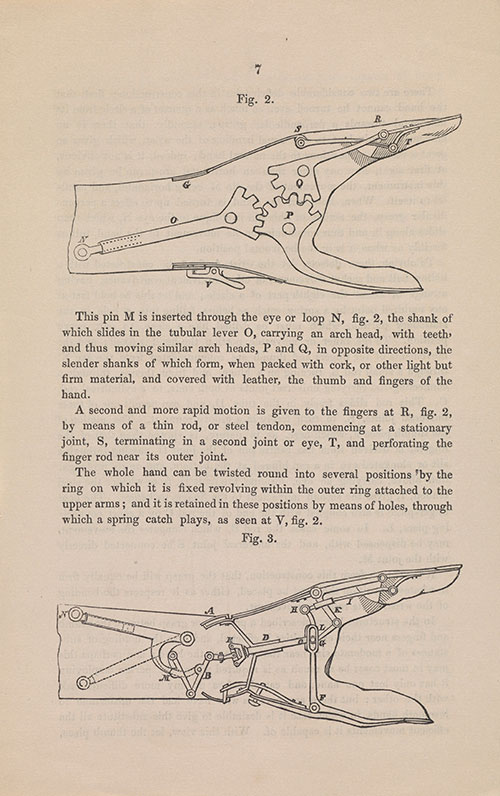 description of an articifial hand by Cayley