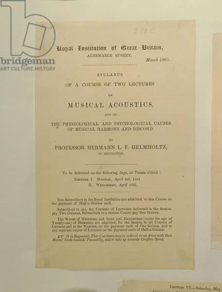 Picture of Advertisement for Professor Hermann von Helmholtz's Lectures on Acoustics, 1861