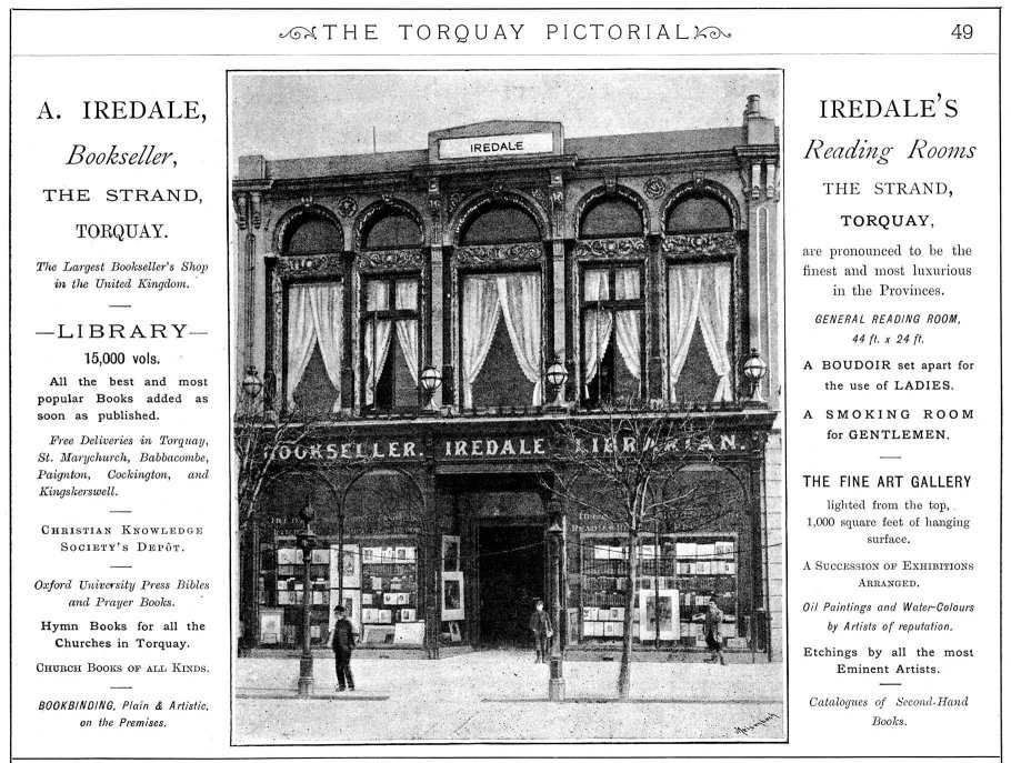 Photograph of Iredale's Library in center, with descriptions either side