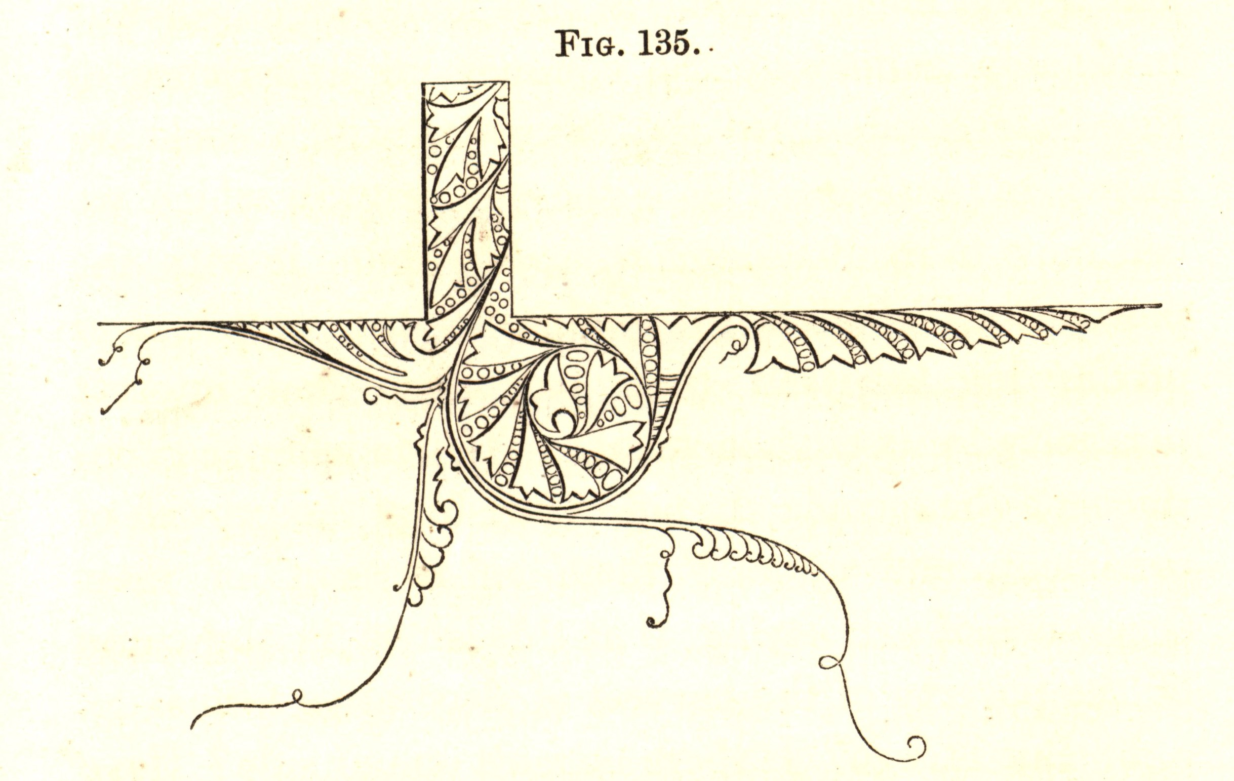 "Figure 11. Dresser, an ornament that ""may justly be said to embody two natural facts"" about water's behavior against a surface, the way it rebounds and the way it clings. Fig. 135 from _The Art of Decorative Design_. Courtesy of the Department of Special Collections, Stanford University Libraries."