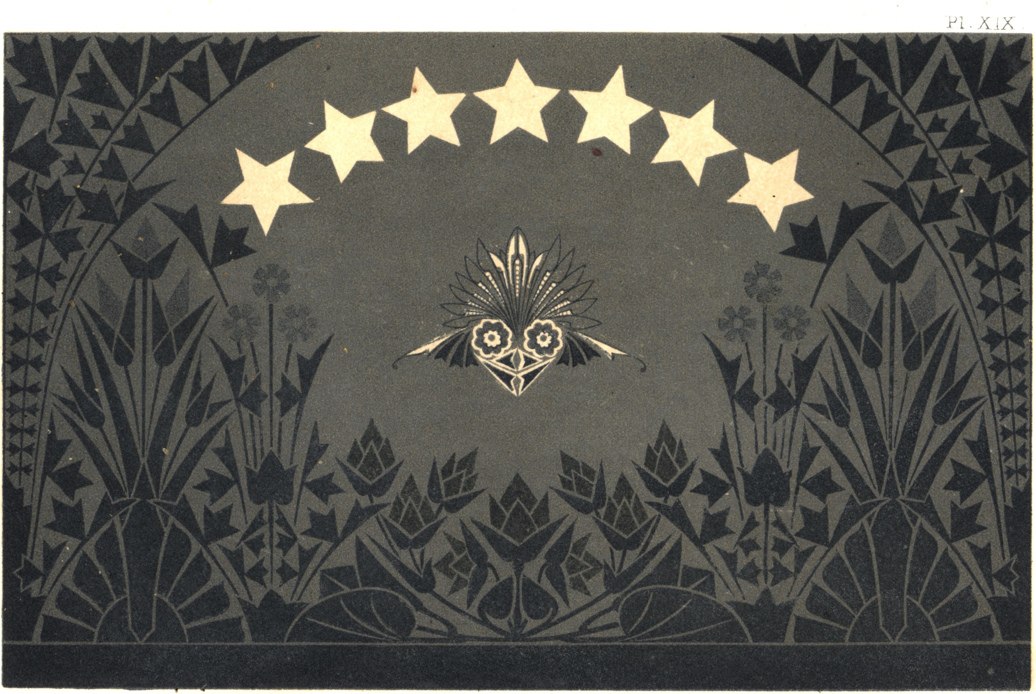 """Figure 13. Dresser, """"Evening"""" wallpaper pattern. Plate XVI from _The Art of Decorative Design_. Courtesyof the Department of Special Collections, Stanford University Libraries."""