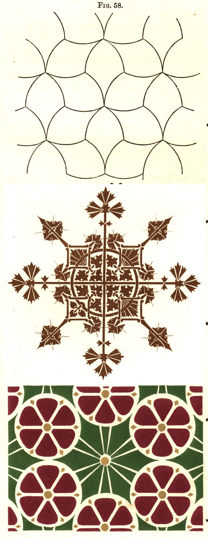 Figure 8. Dresser, ornamental patterns with radial symmetry, suitable for floors or ceilings. Fig. 57, Plate XVIII fig. 2, and Plate V fig. 3 from _The Art of Decorative Design_. Courtesy of the Department of Special Collections, Stanford University Libraries.