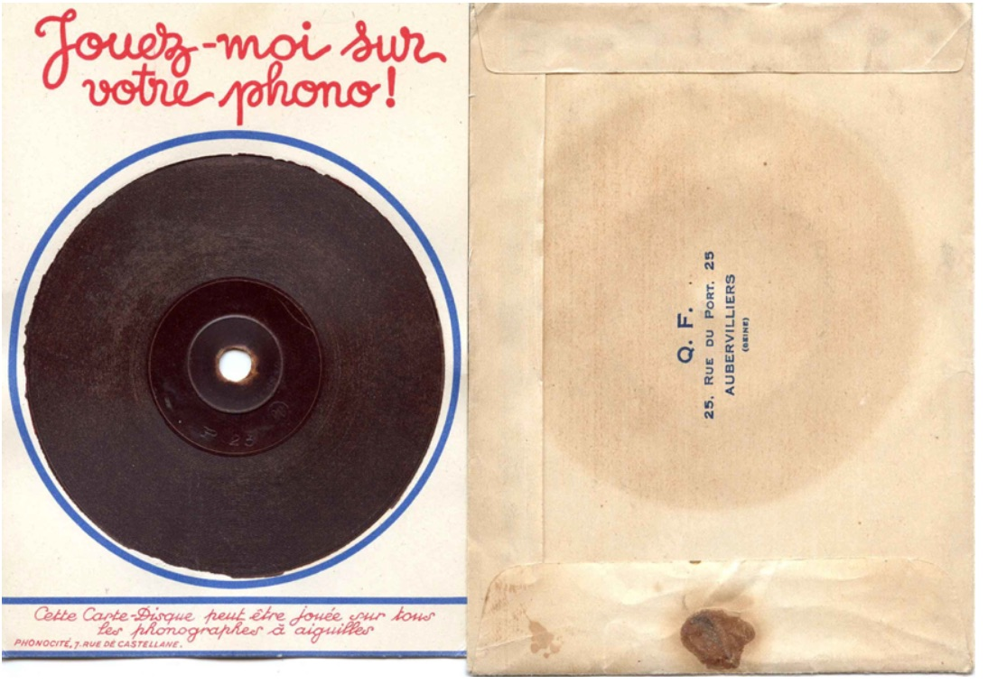 "Figure 3. Image of _Carte Postale Parlante_, from Rainer E. Lotz, ""Exploratory History of the Phono Postcard,"" http://www.lotz-verlag.de/Online-Disco-Phonocards.html"