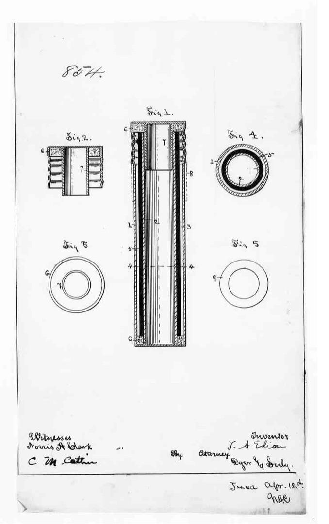 "Figure 4. Illustration from ""Patent Application, Thomas Alva Edison, April 17th, 1890."" _Edison Papers Digital Edition_. Web. 7 Nov. 2019."