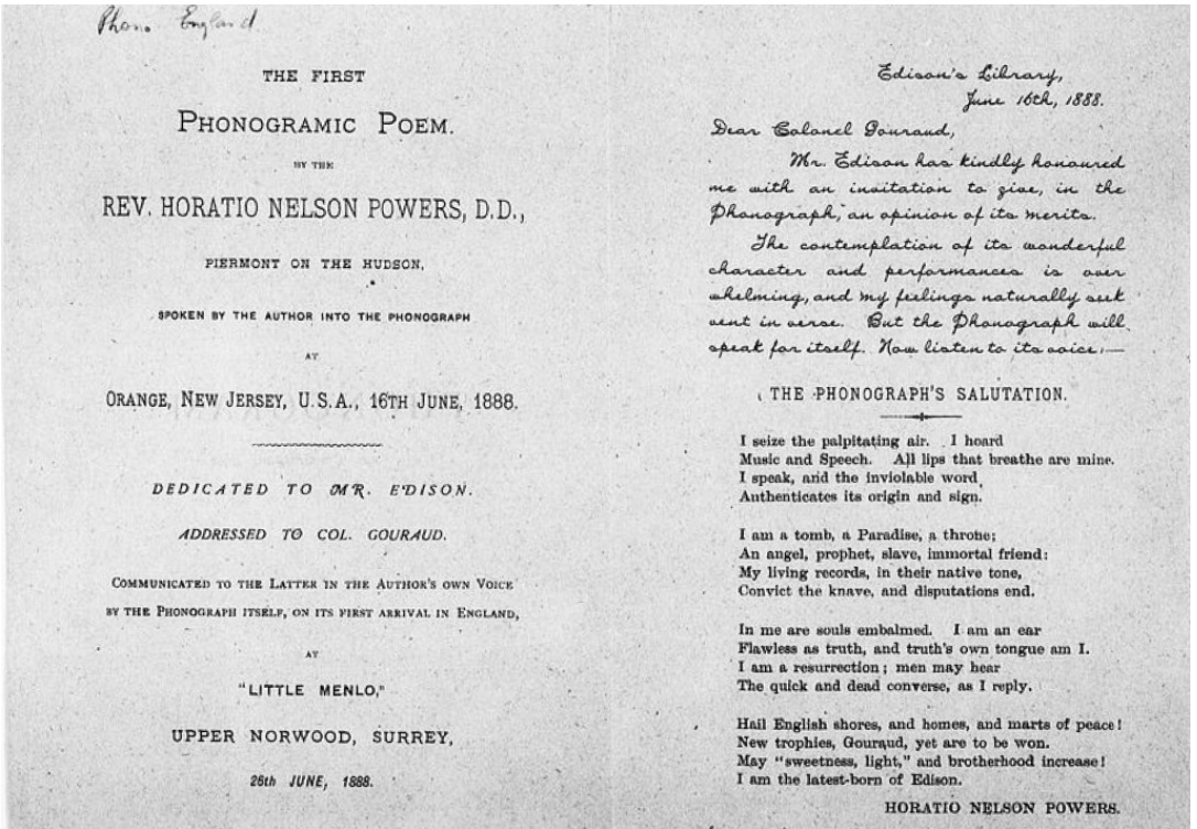 "Horatio Nelson Powers. ""Phonogram from Horatio Nelson Powers to George Edward Gouraud, Thomas Alva Edison, June 16th, 1888."" _Edison Papers Digital Edition_. 7 Nov. 2019."