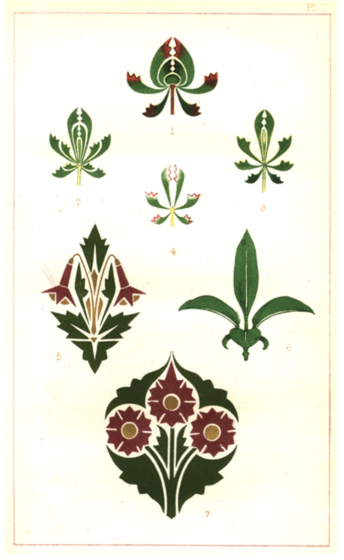 """Figure 6. Ornamental motifs that evoke the """"mental conception"""" of a leaf-bud. Plate II from Dresser, _The Art of Decorative Design_ (1862). Courtesyof the Department of Special Collections, Stanford University Libraries."""