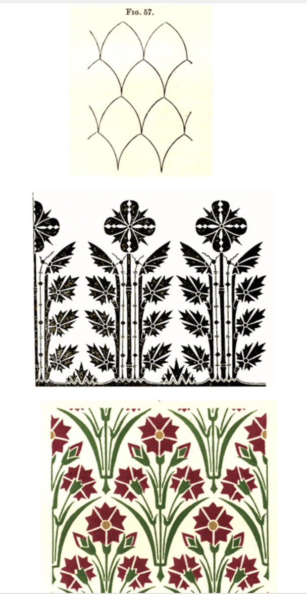 Figure 9. Dresser, ornamental patterns with bi-lateral symmetry, suitable for wall coverings. Fig. 57, Fig. 79, and Plate V fig. 2 from _The Art of Decorative Design_. Courtesyof the Department of Special Collections, Stanford University Libraries.