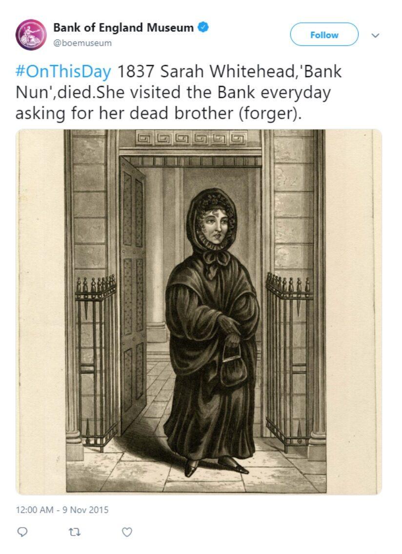 Figure 1: The Bank of England Museum. @boemuseum tweet of Nov. 9, 2015.