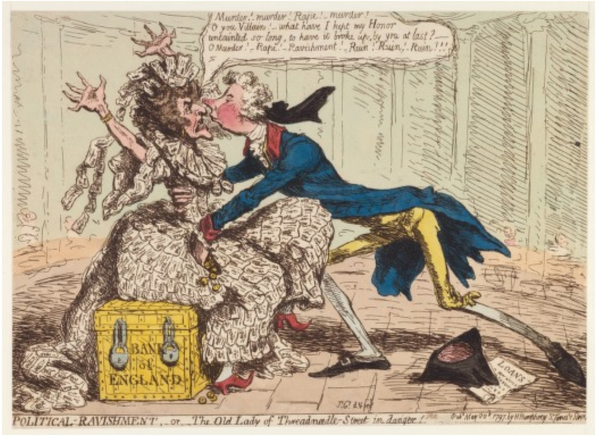 """Figure 3: James Gillray. """"_Political Ravishment, or The Old Lady of Threadneedle-street in Danger!_"""" 1797. Wikimedia Commons."""